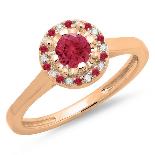 0.50 Carat (ctw) 14K Rose Gold Round Ruby & White Diamond Ladies Bridal Halo Style Engagement Ring 1/2 CT