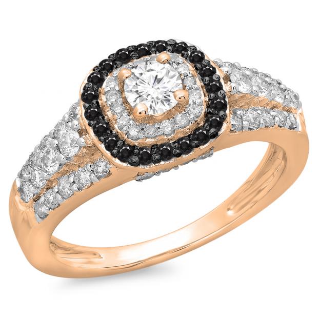 1.00 Carat (ctw) 10K Rose Gold Round Cut Black & White Diamond Ladies Vintage Style Bridal Halo Engagement Ring 1 CT