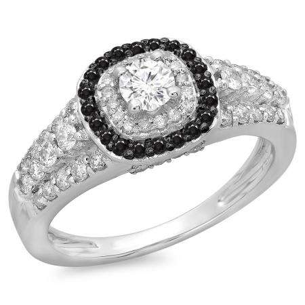 1.00 Carat (ctw) 18K White Gold Round Cut Black & White Diamond Ladies Vintage Style Bridal Halo Engagement Ring 1 CT