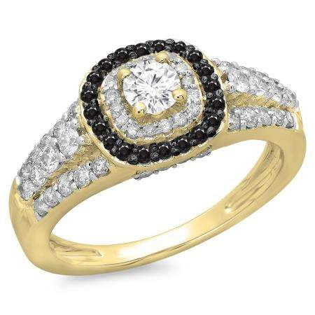 1.00 Carat (ctw) 18K Yellow Gold Round Cut Black & White Diamond Ladies Vintage Style Bridal Halo Engagement Ring 1 CT
