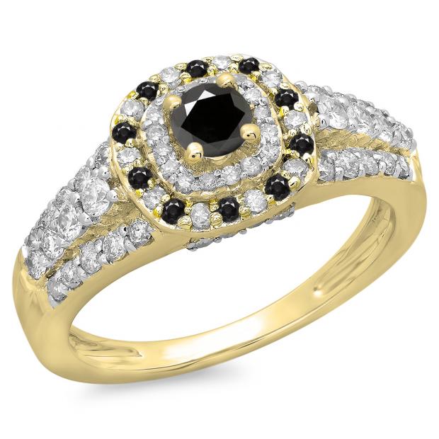 1.00 Carat (ctw) 18K Yellow Gold Round Cut Black & White Diamond Ladies Vintage Style Bridal Halo Engagement Ring 1 CT