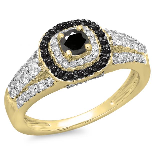1.00 Carat (ctw) 10K Yellow Gold Round Cut Black & White Diamond Ladies Vintage Style Bridal Halo Engagement Ring 1 CT