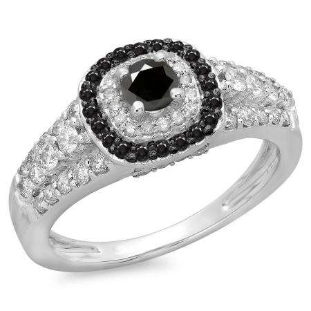 1.00 Carat (ctw) 14K White Gold Round Cut Black & White Diamond Ladies Vintage Style Bridal Halo Engagement Ring 1 CT