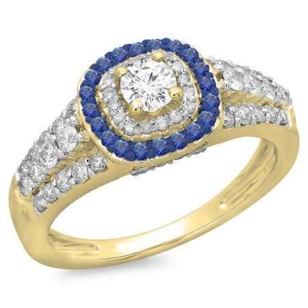 1.00 Carat (ctw) 10K Yellow Gold Round Cut Blue Sapphire & White Diamond Ladies Vintage Style Bridal Halo Engagement Ring 1 CT