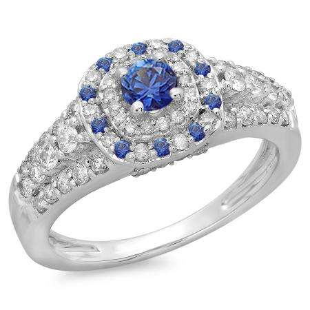 1.00 Carat (ctw) 10K White Gold Round Cut Blue Sapphire & White Diamond Ladies Vintage Style Bridal Halo Engagement Ring 1 CT