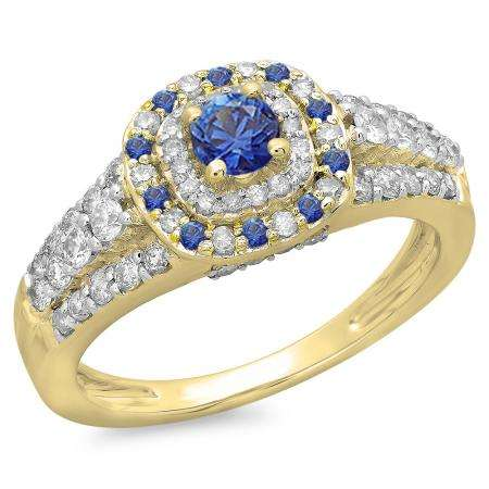 1.00 Carat (ctw) 14K Yellow Gold Round Cut Blue Sapphire & White Diamond Ladies Vintage Style Bridal Halo Engagement Ring 1 CT