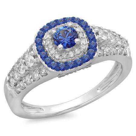 1.00 Carat (ctw) 14K White Gold Round Cut Blue Sapphire & White Diamond Ladies Vintage Style Bridal Halo Engagement Ring 1 CT