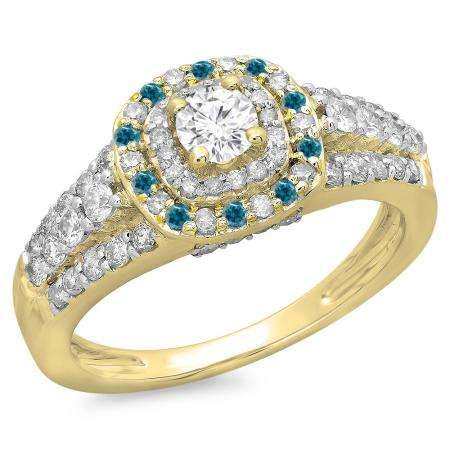 1.00 Carat (ctw) 18K Yellow Gold Round Cut Blue & White Diamond Ladies Vintage Style Bridal Halo Engagement Ring 1 CT