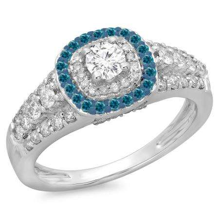 1.00 Carat (ctw) 18K White Gold Round Cut Blue & White Diamond Ladies Vintage Style Bridal Halo Engagement Ring 1 CT