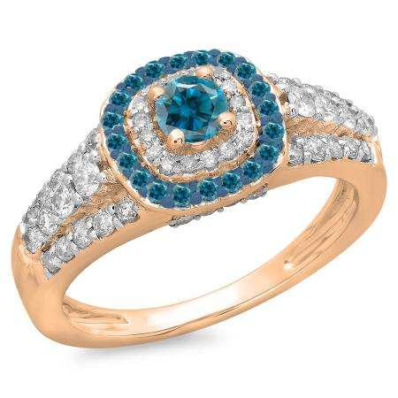 1.00 Carat (ctw) 10K Rose Gold Round Cut Blue & White Diamond Ladies Vintage Style Bridal Halo Engagement Ring 1 CT