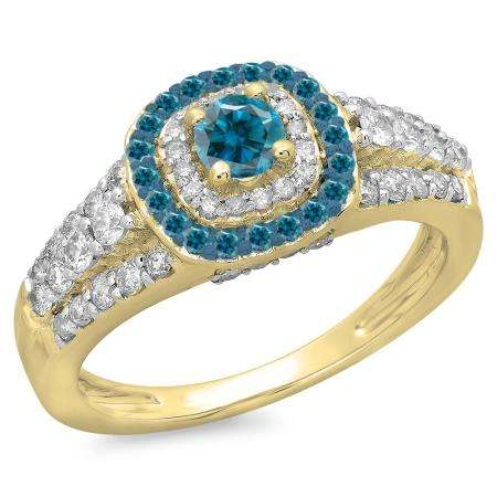 1.00 Carat (ctw) 10K Yellow Gold Round Cut Blue & White Diamond Ladies Vintage Style Bridal Halo Engagement Ring 1 CT