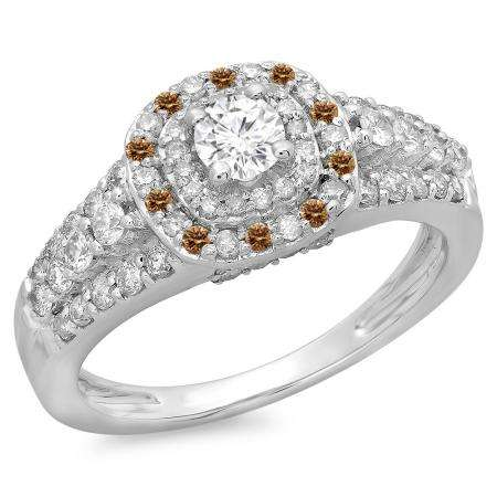 1.00 Carat (ctw) 18K White Gold Round Cut Champagne & White Diamond Ladies Vintage Style Bridal Halo Engagement Ring 1 CT