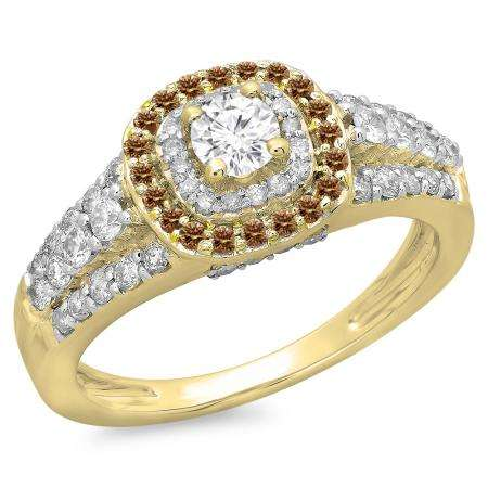 1.00 Carat (ctw) 14K Yellow Gold Round Cut Champagne & White Diamond Ladies Vintage Style Bridal Halo Engagement Ring 1 CT