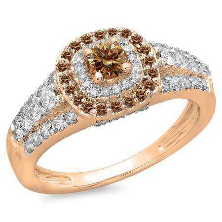 1.00 Carat (ctw) 10K Rose Gold Round Cut Champagne & White Diamond Ladies Vintage Style Bridal Halo Engagement Ring 1 CT