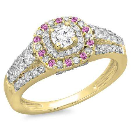 1.00 Carat (ctw) 10K Yellow Gold Round Cut Pink Sapphire & White Diamond Ladies Vintage Style Bridal Halo Engagement Ring 1 CT