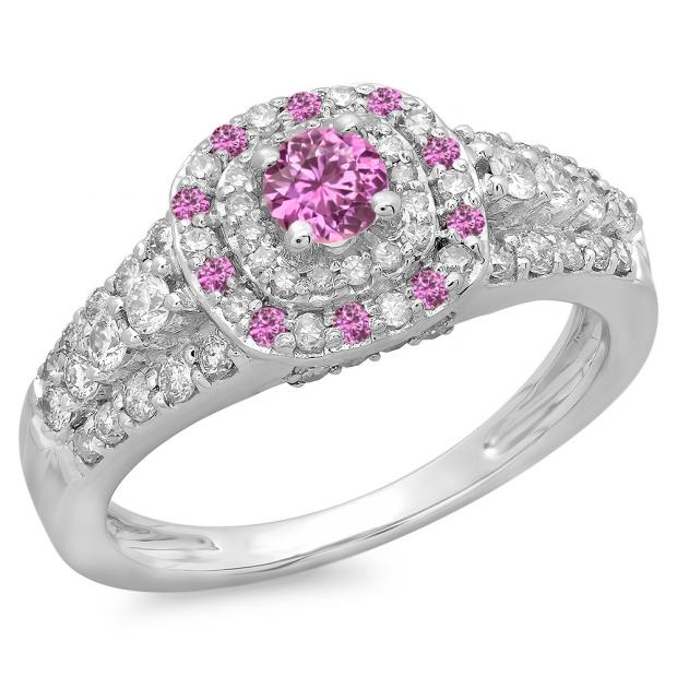 1.00 Carat (ctw) 14K White Gold Round Cut Pink Sapphire & White Diamond Ladies Vintage Style Bridal Halo Engagement Ring 1 CT