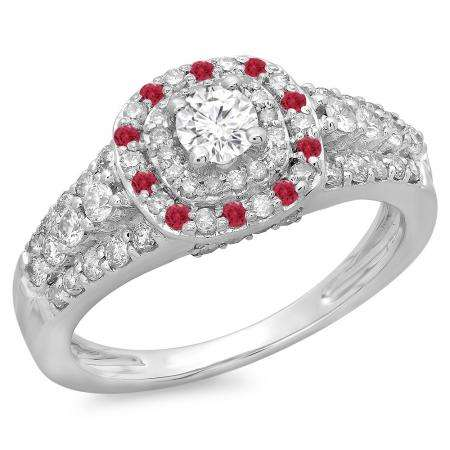 1.00 Carat (ctw) 14K White Gold Round Cut Ruby & White Diamond Ladies Vintage Style Bridal Halo Engagement Ring 1 CT