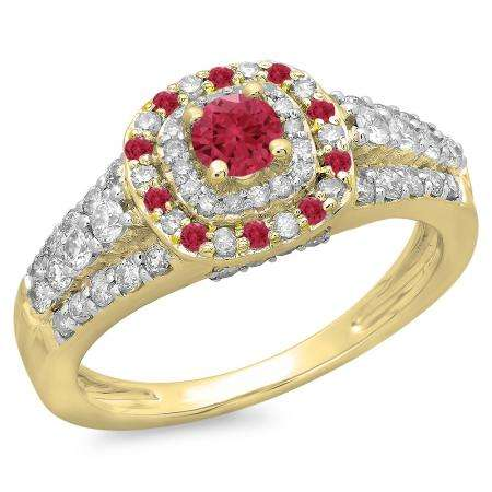 1.00 Carat (ctw) 18K Yellow Gold Round Cut Ruby & White Diamond Ladies Vintage Style Bridal Halo Engagement Ring 1 CT