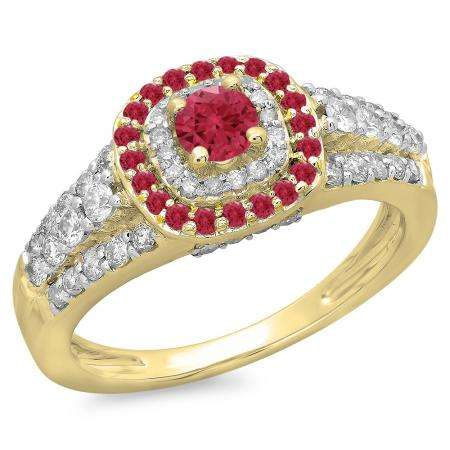 1.00 Carat (ctw) 10K Yellow Gold Round Cut Ruby & White Diamond Ladies Vintage Style Bridal Halo Engagement Ring 1 CT