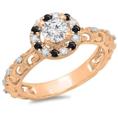 0.80 Carat (ctw) 18K Rose Gold Round Cut Black & White Diamond Ladies Bridal Vintage Halo Style Engagement Ring 3/4 CT