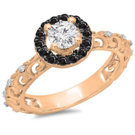 0.80 Carat (ctw) 10K Rose Gold Round Cut Black & White Diamond Ladies Bridal Vintage Halo Style Engagement Ring 3/4 CT