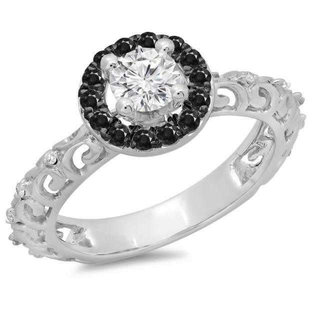 0.80 Carat (ctw) 18K White Gold Round Cut Black & White Diamond Ladies Bridal Vintage Halo Style Engagement Ring 3/4 CT