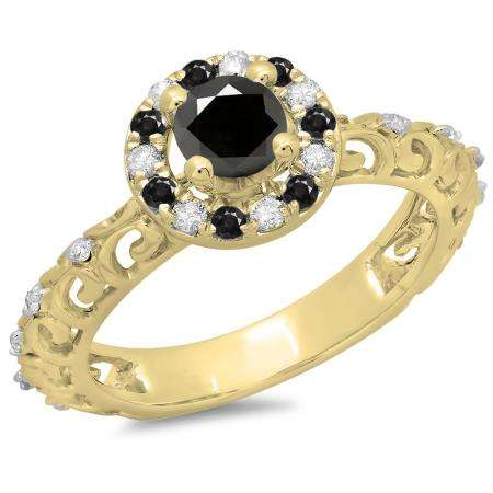 0.80 Carat (ctw) 14K Yellow Gold Round Cut Black & White Diamond Ladies Bridal Vintage Halo Style Engagement Ring 3/4 CT