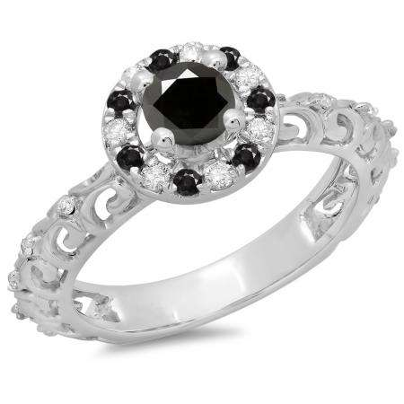 0.80 Carat (ctw) 18K White Gold Round Cut Black & White Diamond Ladies Bridal Vintage Halo Style Engagement Ring 3/4 CT