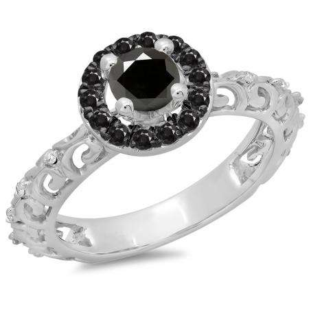 0.80 Carat (ctw) 14K White Gold Round Cut Black & White Diamond Ladies Bridal Vintage Halo Style Engagement Ring 3/4 CT