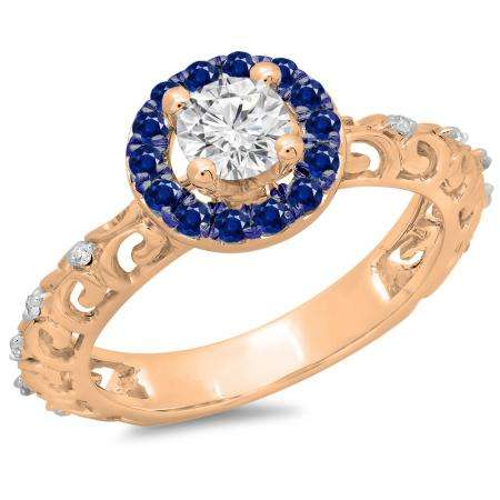 0.80 Carat (ctw) 10K Rose Gold Round Cut Blue Sapphire & White Diamond Ladies Bridal Vintage Halo Style Engagement Ring 3/4 CT