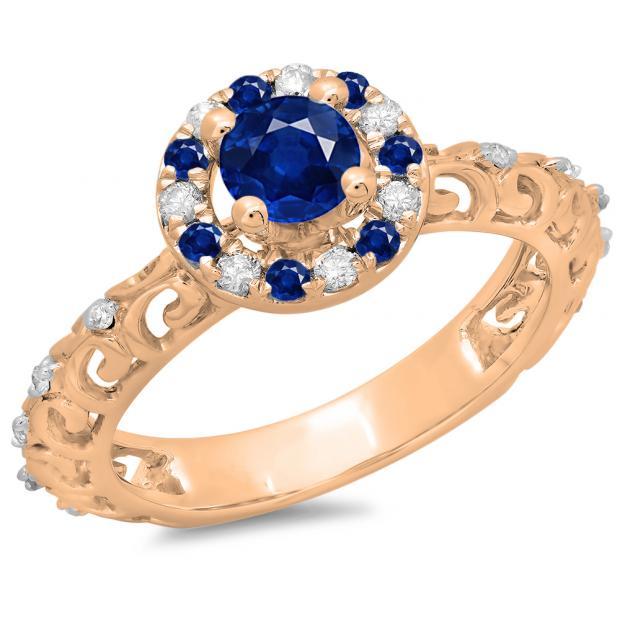 0.80 Carat (ctw) 10K Rose Gold Round Cut Blue Sapphire & White Diamond Ladies Bridal Vintage Halo Style Engagement Ring 3/4 CT