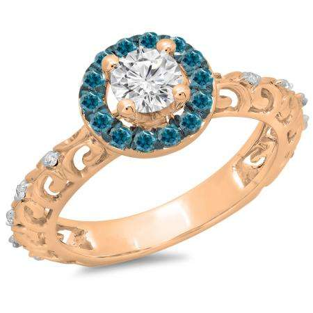 0.80 Carat (ctw) 14K Rose Gold Round Cut Blue & White Diamond Ladies Bridal Vintage Halo Style Engagement Ring 3/4 CT