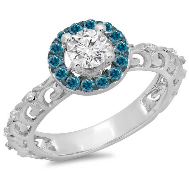 0.80 Carat (ctw) 14K White Gold Round Cut Blue & White Diamond Ladies Bridal Vintage Halo Style Engagement Ring 3/4 CT