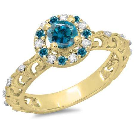 0.80 Carat (ctw) 10K Yellow Gold Round Cut Blue & White Diamond Ladies Bridal Vintage Halo Style Engagement Ring 3/4 CT