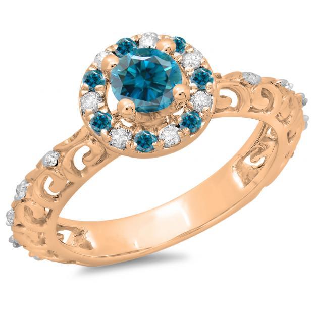 0.80 Carat (ctw) 14K Rose Gold Round Cut Blue & White Diamond Ladies Bridal Vintage Halo Style Engagement Ring 3/4 CT