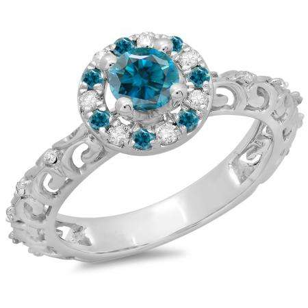 0.80 Carat (ctw) 14K White Gold Round Cut Blue & White Diamond Ladies Bridal Vintage Halo Style Engagement Ring 3/4 CT