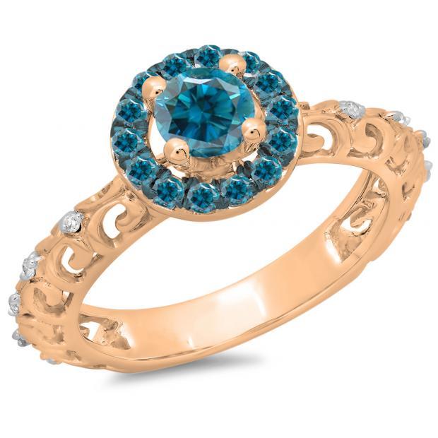 0.80 Carat (ctw) 10K Rose Gold Round Cut Blue & White Diamond Ladies Bridal Vintage Halo Style Engagement Ring 3/4 CT