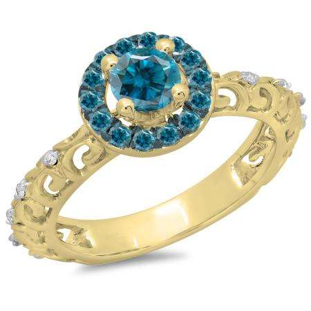 0.80 Carat (ctw) 14K Yellow Gold Round Cut Blue & White Diamond Ladies Bridal Vintage Halo Style Engagement Ring 3/4 CT