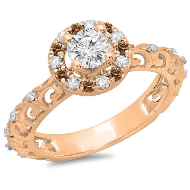 0.80 Carat (ctw) 10K Rose Gold Round Cut Champagne & White Diamond Ladies Bridal Vintage Halo Style Engagement Ring 3/4 CT