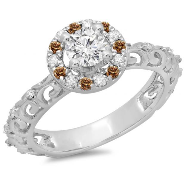 0.80 Carat (ctw) 18K White Gold Round Cut Champagne & White Diamond Ladies Bridal Vintage Halo Style Engagement Ring 3/4 CT