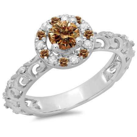 0.80 Carat (ctw) 10K White Gold Round Cut Champagne & White Diamond Ladies Bridal Vintage Halo Style Engagement Ring 3/4 CT