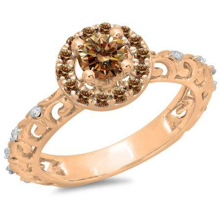 0.80 Carat (ctw) 10K Rose Gold Round Cut Champagne & White Diamond Ladies Bridal Vintage Halo Style Engagement Ring 3/4 CT