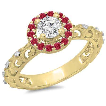 0.80 Carat (ctw) 10K Yellow Gold Round Cut Ruby & White Diamond Ladies Bridal Vintage Halo Style Engagement Ring 3/4 CT