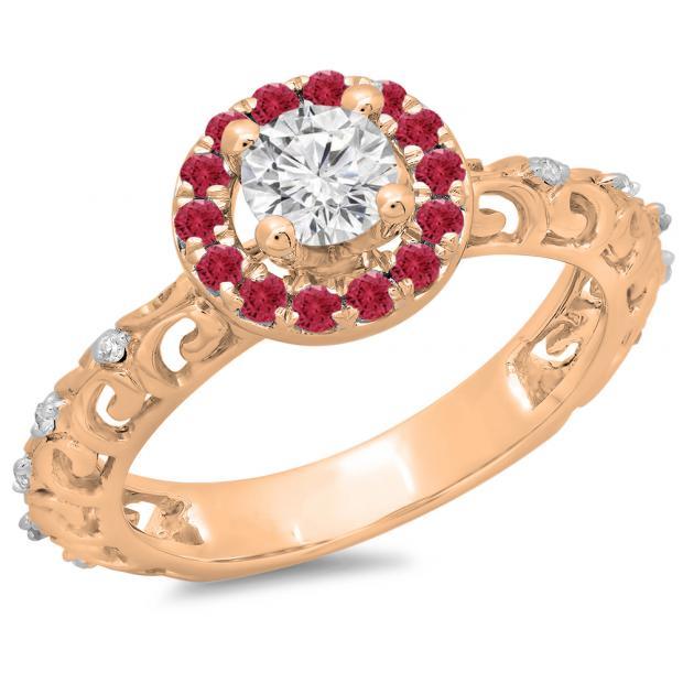 0.80 Carat (ctw) 14K Rose Gold Round Cut Ruby & White Diamond Ladies Bridal Vintage Halo Style Engagement Ring 3/4 CT