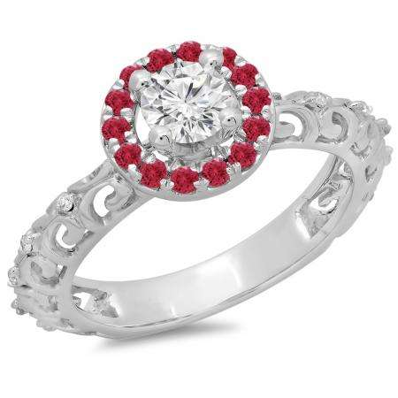 0.80 Carat (ctw) 14K White Gold Round Cut Ruby & White Diamond Ladies Bridal Vintage Halo Style Engagement Ring 3/4 CT