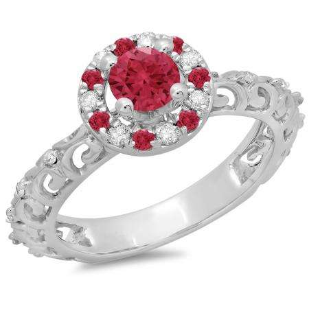 0.80 Carat (ctw) 10K White Gold Round Cut Ruby & White Diamond Ladies Bridal Vintage Halo Style Engagement Ring 3/4 CT