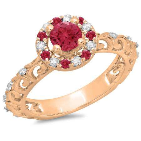 0.80 Carat (ctw) 14K Rose Gold Round Cut Ruby & White Diamond Ladies Bridal Vintage Halo Style Engagement Ring 3/4 CT