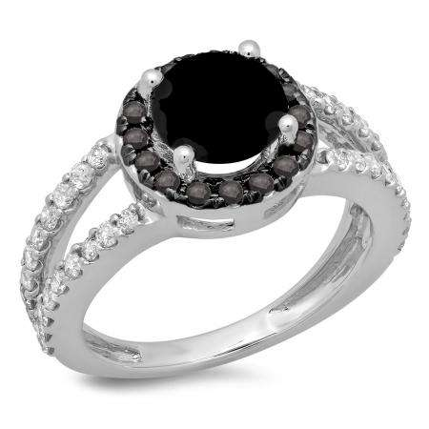 2.33 Carat (ctw) 18K White Gold Round Black & White Diamond Ladies Bridal Split Shank Halo Style Engagement Ring