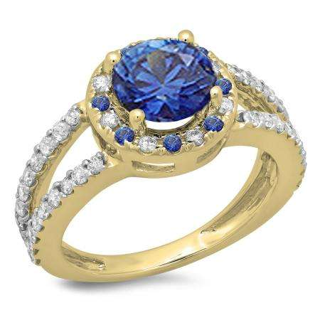 2.33 Carat (ctw) 14K Yellow Gold Round Blue Sapphire & White Diamond Ladies Bridal Split Shank Halo Style Engagement Ring
