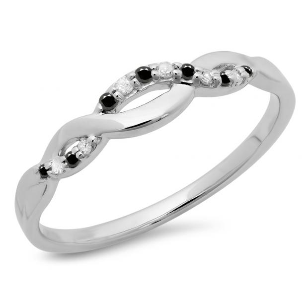 0.10 Carat (ctw) 10K White Gold Round Cut Black & White Diamond Ladies Bridal Anniversary Wedding Band Stackable Swirl Ring